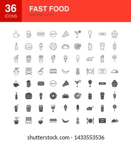 Fast Food Line Web Glyph Icons. Vector Illustration of Street Outline and Solid Symbols.