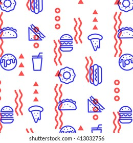 Fast food linear outline pattern. Print texture. Fabric design. Vector illustration.