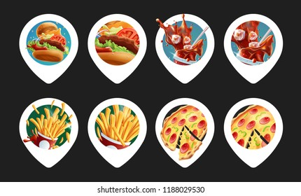 Fast Food Location Pins. Burger, Drink, Fries and Pizza. 8 Variations.
