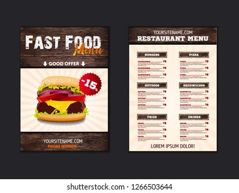Fast food loft menu brochure design on wooden background vector template in A4 size. flyer, baner and Layout Design.