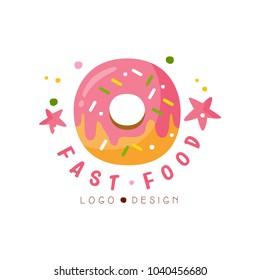 Fast food logo design, badge with glazed donut sign, fast food menu vector Illustration on a white background