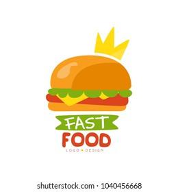 Fast food logo design, burger sign with crown, fast food menu vector Illustration on a white background