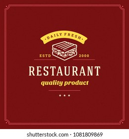 Fast food logo design vector illustration. Sandwich silhouette, good for restaurant menu and cafe badge. Vintage typography logotype template.
