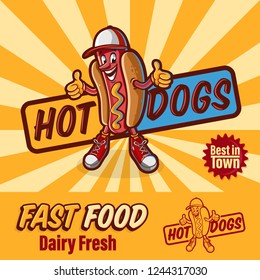 fast food logo with hot dogs