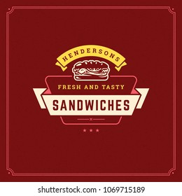 Fast food logo vector illustration. Sandwich silhouette, good for restaurant menu and cafe badge. Vintage typography emblem design.