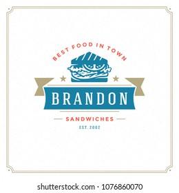 Fast food logo vector illustration. Sandwich silhouette, good for restaurant menu and cafe badge. Vintage typography emblem design.