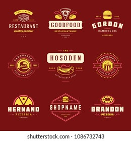 Fast food logos design templates set vector illustration. Good for Pizzeria, burger shop and restaurant menu badges, fast food silhouettes.