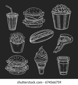Fast food lunch meal chalk sketch on blackboard. Hamburger and hot dog sandwich, pizza, french fries, takeaway cup of soda and coffee drink, ice cream cone and popcorn for fast food menu board design