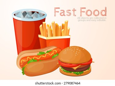 fast food, lunch, meal, set