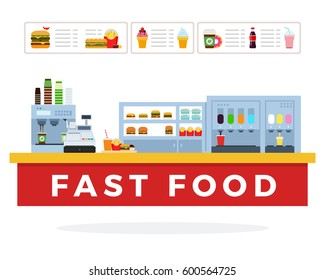 Fast Food market vector flat material design isolated on white