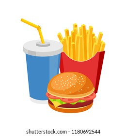 Fast food meal colorful burger french fries and soda isolated on white flat design