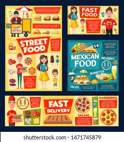 Fast food meal and drink vector menu of burger cafe, mexican restaurant, hot dog street cart and pizza delivery. Hamburger, fries and soda, chicken nuggets, ice cream tacos, nacho, burrito, sandwiches