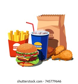 Fast food meal set with classic American cheese burger with grilled meat, fried crispy chicken leg tenders, french fries and soft drink cup. Flat style vector illustration isolated on white background