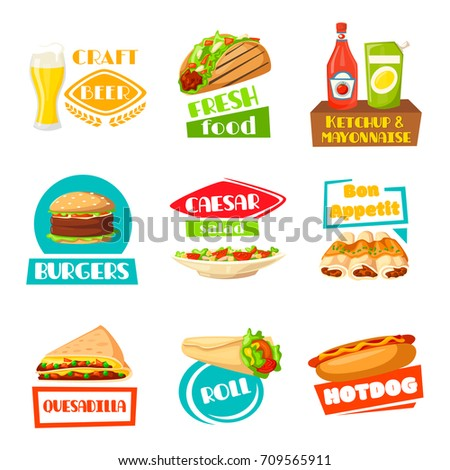 Fast Food And Meals Icons For Menu Template Vector Isolated Set Craft Beer Drink