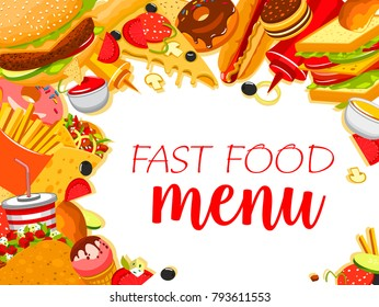 Fast food meals and snacks menu design template for fastfood restaurant. Vector combo sandwiches, fries or hamburger and ice cream or donut, coffee or soda drink and cheeseburger, hotdog or pizza