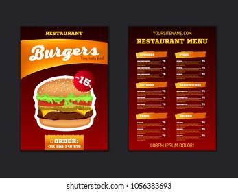 fast food menu brochure design vector のベクター画像素材