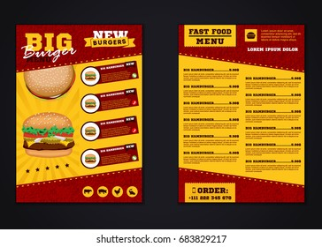 Fast food menu brochure design vector template in A4 size. flyer, baner and Layout Design. food concept.