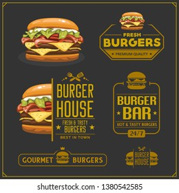 Fast food menu. Burger emblems, labels and design elements. Burger house logo design template.