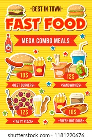 Fast food menu with combo meal. Hamburger and fries, pizza, chicken and soda drink, hot dog, burrito and coffee. Fastfood cafe or food delivery service. Vector illustration