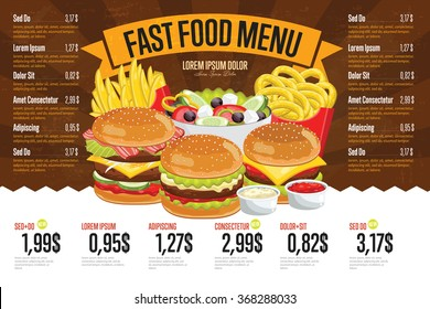 Fast food menu design and fast food board cartoon vector illustration.