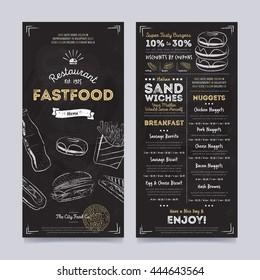 Fast food menu design and fast food hand drawn vector illustration. Cover restaurant menu template.