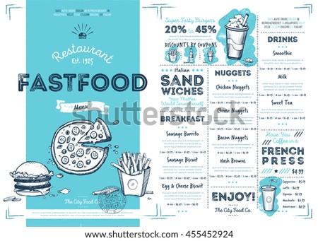 Fast Food Menu Design Fast Food Stock Vector Royalty Free