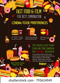 Fast food menu design template for cinema bistro or movie theater cafeteria restaurant. Vector fastfood combo for popcorn, burgers or hot dog sandwich and donut or fries and coffee or soda drink