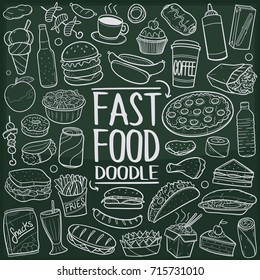 Fast Food Menu Doodle Icon Chalkboard Sketch Hand Made Vector Art