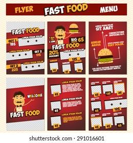 fast food menu flyer template set stock vector royalty free