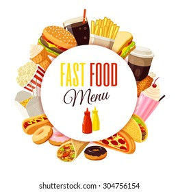 """""""Fast food menu"""" label with hamburger, french fries, coffee, sandwich, popcorn, ice cream, pizza, taco and so. Vector illustration, isolated on white, eps 10."""