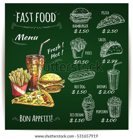 Fast Food Menu List On Chalkboard Stock Vektorgrafik Lizenzfrei