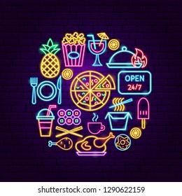 Fast Food Menu Neon Concept. Vector Illustration of Bar Promotion.