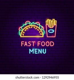 Fast Food Menu Neon Label. Vector Illustration of Cafe Promotion.