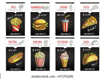 Fast food menu poster with description and price label. Isolated sketch icons elements of fries, hamburger, drinks, pizza, hot dog, popcorn, ice cream, tacos