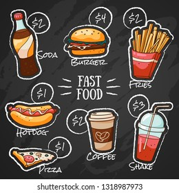 Fast food menu for restaurant. Vector cafe menu with lettering and prices in doodle style. Chalk drawing fast food menu design.