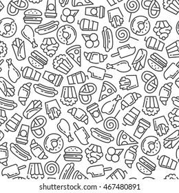 Fast food menu. Set of cartoon vector seamless pattern.