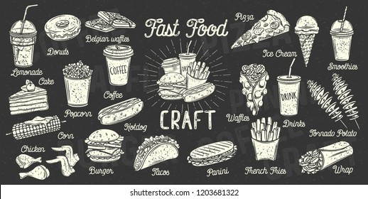 Fast food menu. Set monochrome icon takeaway meals. Coffee, burger, waffles, donut, panini and wrap. Drinks, ice cream and desserts. Retro style
