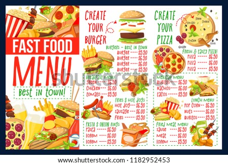 fast food menu template burger pizza stock vector royalty free