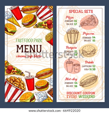 Fast Food Menu Template Design Prices Image Vectorielle De Stock