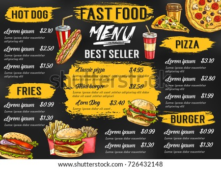 fast food menu template fastfood restaurant stock vector royalty