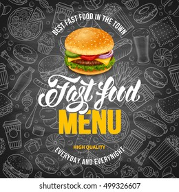 Fast Food Menu Template in Hand Drawn Doodle Style with Different Objects on Fast Food Theme. Chalkboard Design. Vector stock Illustration.