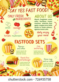 Fast food menu template of snacks, drinks and burgers. Vector combo set of cheeseburger, pizza or hot dog and fries, hamburger sandwich or coffee and soda, ice cream dessert for fastfood restaurant
