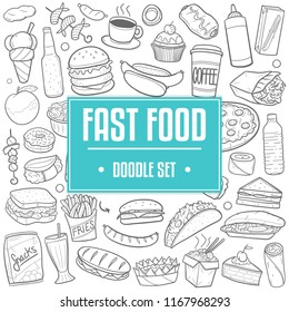 Fast Food Menu Traditional Doodle Icons Sketch Hand Made Design Vector