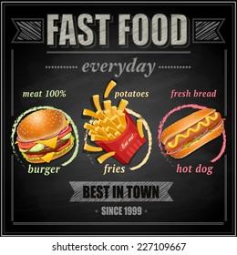 Fast food menu - vector illustration