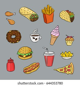 Fast food and mexican cuisine hand drawn colored icons. Doodle illustrations of sandwich, hot dog, pizza slice, ice cream, taco. Vector food illustrations for bistro, fast food chains, snack-bar