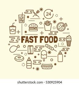 fast food minimal thin line icons set, vector illustration design elements