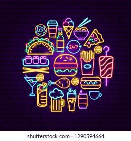 Fast Food Neon Concept. Vector Illustration of Menu Promotion.