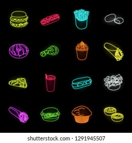 Fast food neon icons in set collection for design.Food from semi-finished products vector symbol stock web illustration.
