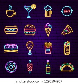 Fast Food Neon Icons. Vector Illustration of Street Menu Promotion.