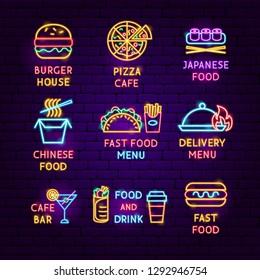 Fast Food Neon Label Set. Vector Illustration of Cafe Promotion.